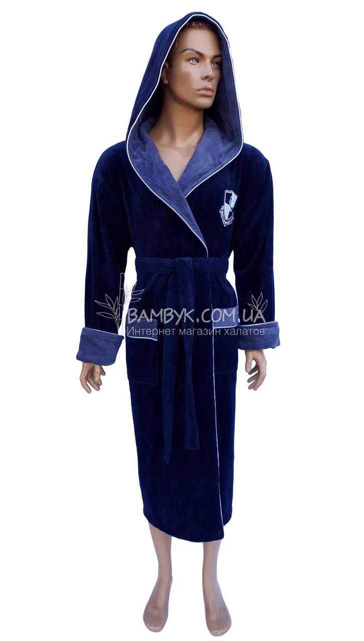 Мужской натуральный халат Nusa (темно-синий) NS-2945