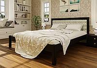 Кровать деревянная Модерн М с мягким изголовьем из натурального дерева двуспальная