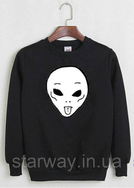 Свитшот черный с принтом RipNDip alien logo