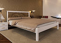 Кровать деревянная Модерн К с ковкой из натурального дерева двуспальная