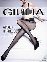 Колготки женские в точечку с ажурным поясом на силиконе AMALIA IMPRESSO 40