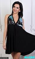 Оригинальное мини платье с открытой спинкой, юбочка клеш