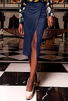 Женска юбка-карандаш Дарси темно-синего цвета из замши