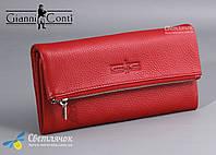Кошелек женский кожаный на молнии Gianni Conti красный/черный