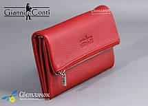 Кошелек женский кожаный на молнии красный/черный Gianni Conti , фото 2