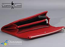 Кошелек женский кожаный на молнии красный/черный Gianni Conti , фото 3