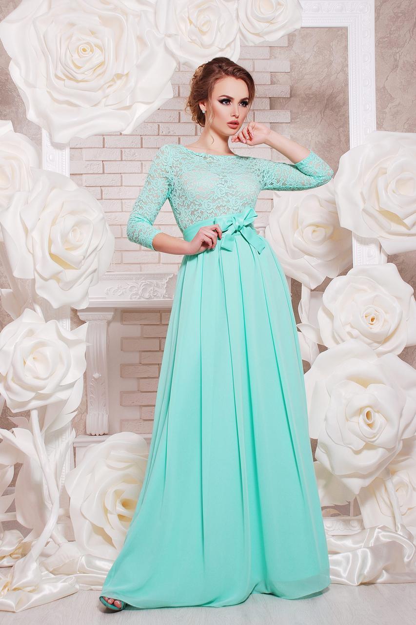 Длинное  платье в пол из шифона и гипюра с рукавом (бирюзовый)