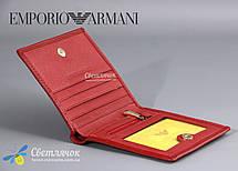 Кошелек женский кожаный маленький красный GIORGIO ARMANI , фото 3
