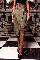 Женска юбка-карандаш Дарси хаки цвета из замши