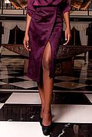 Женска юбка-карандаш Дарси цвет марсала из замши