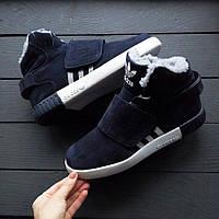 Зимние Мужские Кроссовки Adidas Tubular темно-синие с мехом
