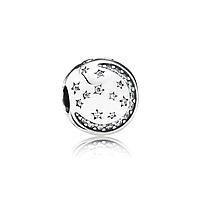 """Шарм-клипса """"Галактика""""  серебро 925 пробы, гравировки, в фирменной упаковке"""