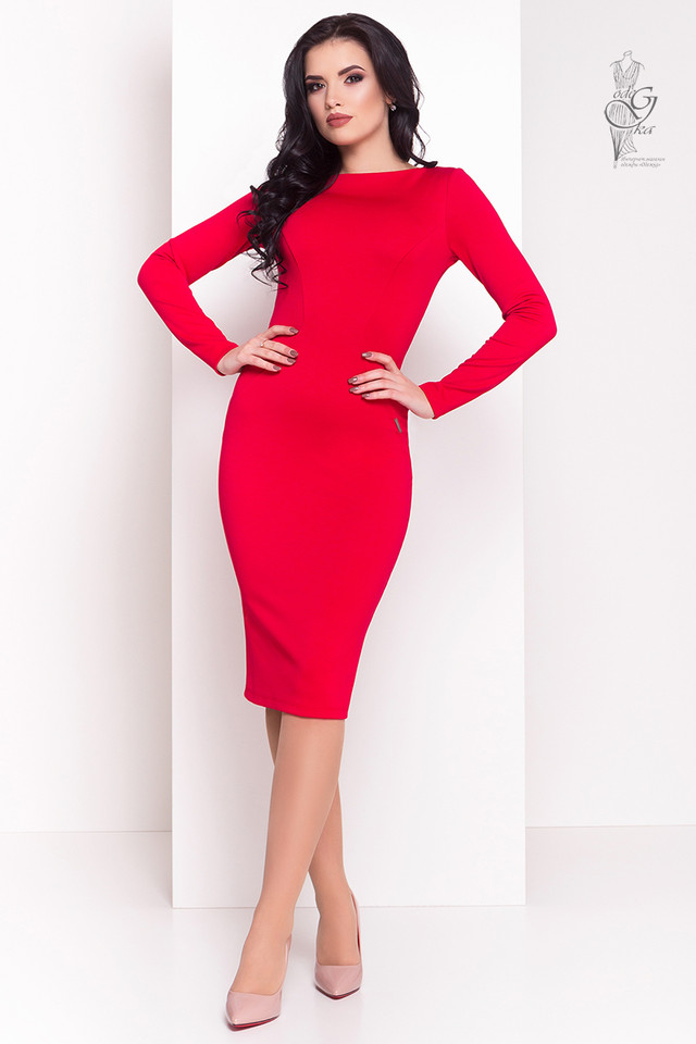Красный цвет Облегающего платья Луна