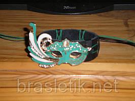 Кожаный браслет МАСКА, зеленая эмаль, вставка кошачий глаз, ручная работа, ограниченное количество.