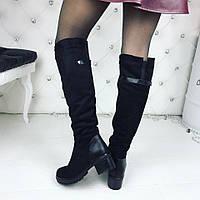 Женские зимние ботфорты чёрные замшевые