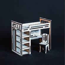Іграшкова дерев'яні меблі Двох'ярусне ліжко