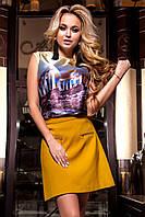 Женская Блуза Ролини с принтом шелк сиреневый цвет