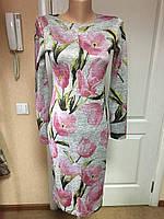 Платье женское деловое трикотажное серое офисное