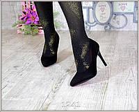Туфли-лодочки черные женские на шпильке