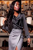 Женская блуза-рубашка Кантили тесно-серого цвета шелк