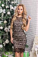Шикарное кружевное женское платье с коротким рукавом