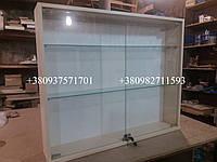 Навесная витрина со стеклянными полочками. Модель А98 крем, фото 1
