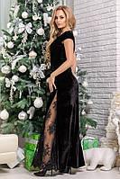Шикарное кружевное женское платье в пол без рукавов
