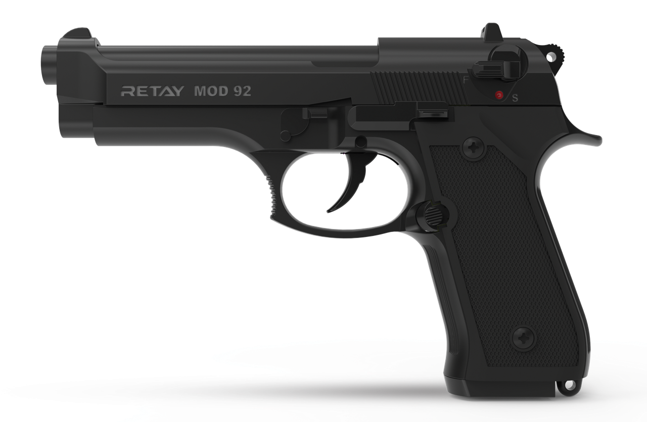 Пистолет сигнальный Retay mod. 92 Black (копия Beretta 92)
