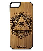 Деревянный чехол на Iphone 7/7s  с лазерной гравировкой Иллюминаты