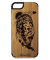 Деревянный чехол на Iphone 7/7s/8/8s  с лазерной гравировкой Индианка