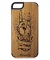 Деревянный чехол на Iphone 7/7s  с лазерной гравировкой Рука