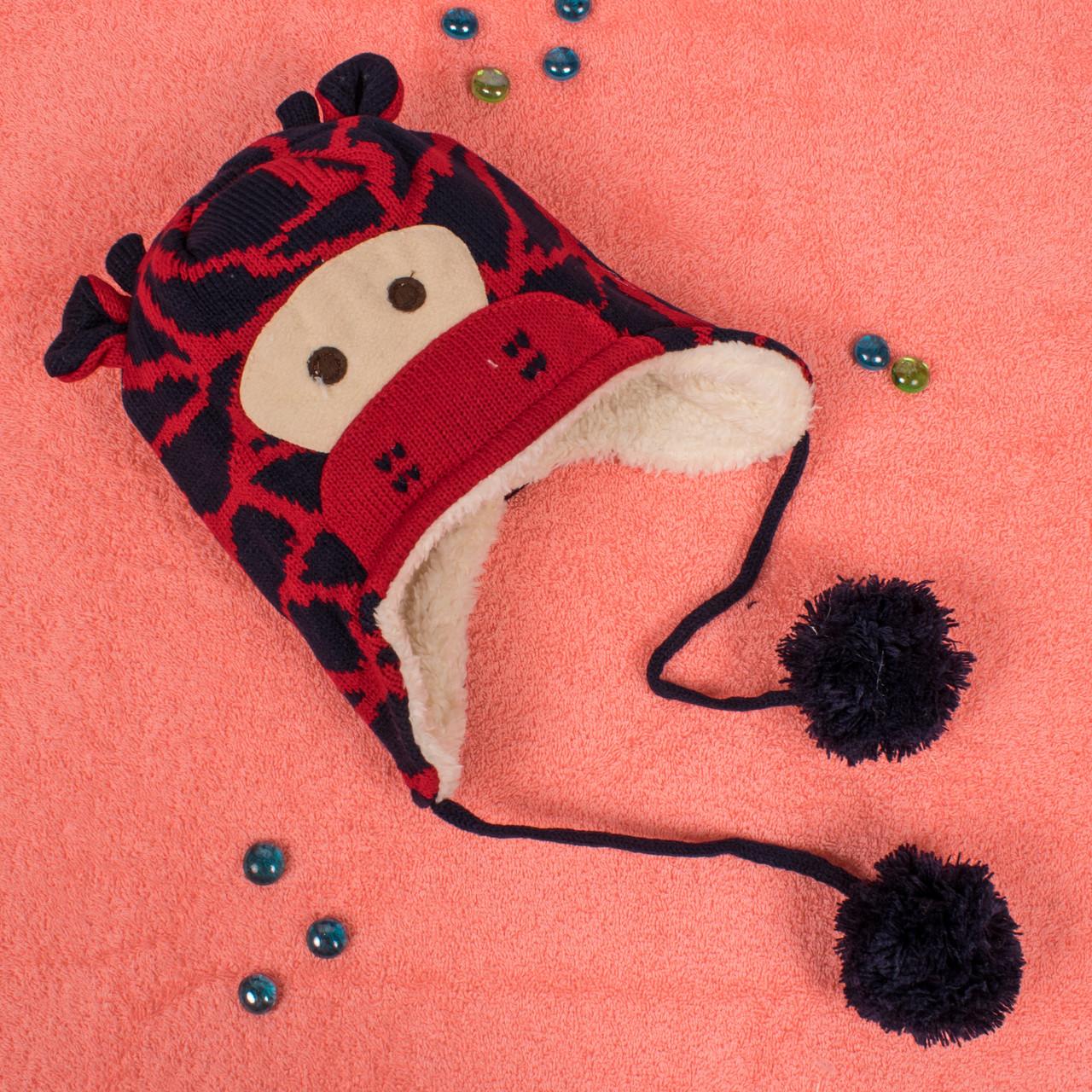 Вязаная шапка для мальчика на завязках с мехом внутри красный жираф CM