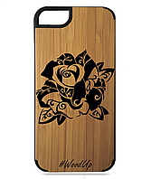 Деревянный чехол на Iphone 7/7s  с лазерной гравировкой Роза