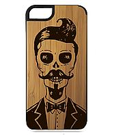 Деревянный чехол на Iphone 7/7s  с лазерной гравировкой Скелет