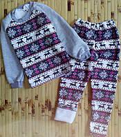Детский теплый спортивный костюм  на меху на девочку ,принт Олени, на рост 86-92,98-104,110-116