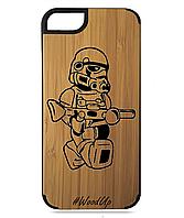 Деревянный чехол на Iphone 7/7s  с лазерной гравировкой Робот