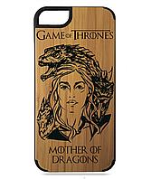Деревянный чехол на Iphone 7/7s  с лазерной гравировкой Mother Of Dragons