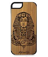 Деревянный чехол на Iphone 7/7s  с лазерной гравировкой Фараон