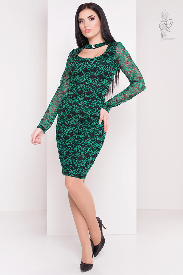 Зеленый цвет Облегающего платья Кружева
