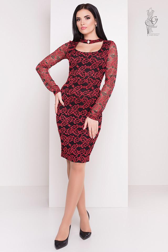 Красный цвет Облегающего платья Кружева