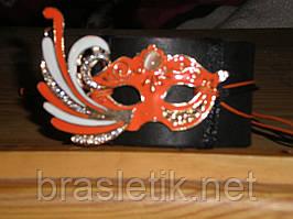 Женский кожаный браслет МАСКА, оранжевая эмаль, вставка кошачий глаз, ручная работа, ограниченное количество.