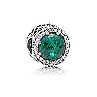 """Шарм """"Сияющие сердца зеленый""""  серебро 925 пробы, гравировки, в фирменной упаковке"""
