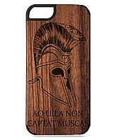 Деревянный чехол на Iphone 7/7s  с лазерной гравировкой Helmet Sparta
