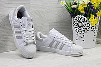 Женские кроссовки adidas Superstar, белые с серебром, материал - кожа, подошва прошита