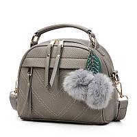 Небольшая женская сумка через плечо с ручкой. Серая КC58-1