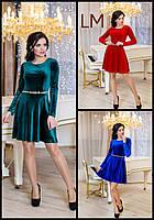 Платье р 42,44,46,48,50 Мисси новогоднее синее красное вечернее женское праздничное короткое велюровое