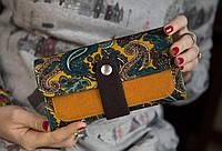 Дизайнерский кошелек ручной работы для девушки «Пейсли Оранж»