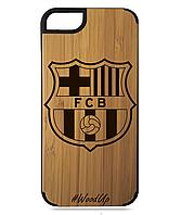 Деревянный чехол на Iphone 7/7s  с лазерной гравировкой FC Barcelona