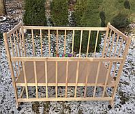 Кровать детская ольха светлая без лака (опускной борт, колеса, качалка), фото 1