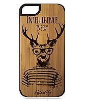 Деревянный чехол на Iphone 7/7s  с лазерной гравировкой Inteligence is sexy